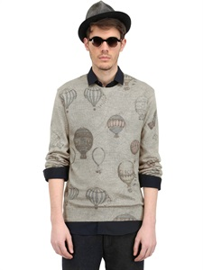 Hot air balloon print wool blend sweater