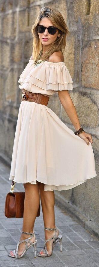 dress romantic dress summer dress waist belt belt sunglasses heels bag brown bag frilly pink dress blush pink streetstyle fashion outfit necklace watch accessories