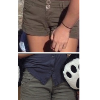 shorts olive green green buttons