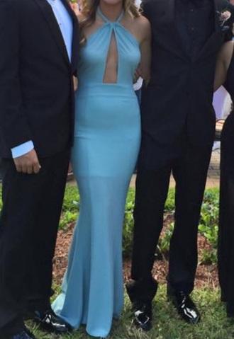 dress mermaid gown prom dress keyhole light blue high neck