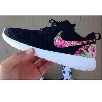 shoes nike flowers black nike running shoes nike air white pink