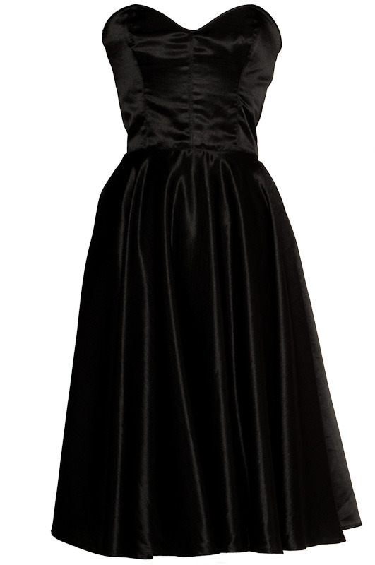 Black vintage 50s style rockabilly silk dress
