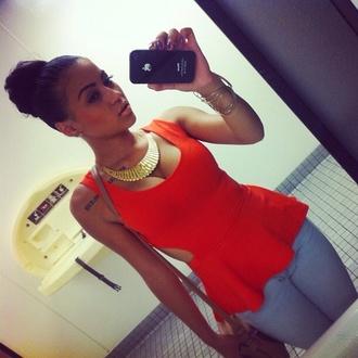 blouse sexy peplum orange shirt