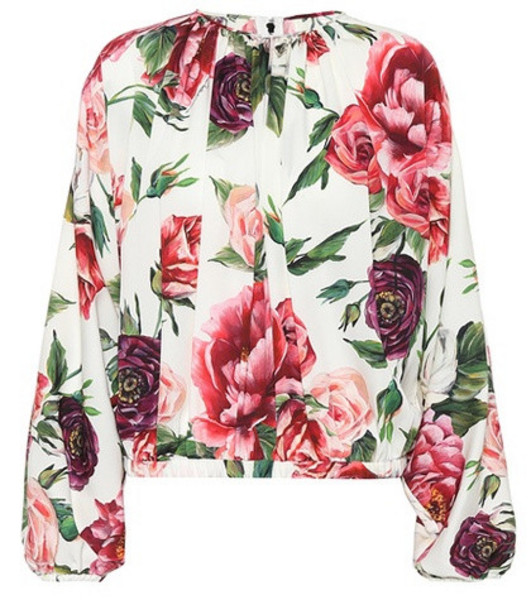 Dolce & Gabbana Floral-printed silk blouse in white