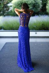 glitter,dress,blue dress,prom dress,cage back,open back,sequins,blue sequin prom dress,blue sequin dress,floor length,long,sleeveless,royal blue dress,open back prom dress,sequin dress,sequin prom dress,sleeveless dress,sparkly dress,cut-out