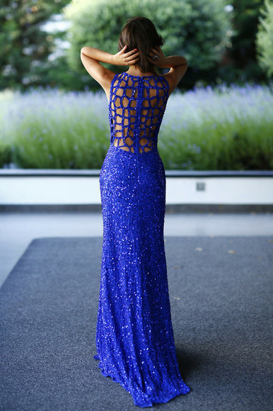 glitter backless sequin dress prom dress sleeveless cage back sequins blue sequin prom dress blue sequin dress floor length long blue dress royal blue dress open back prom dress sequin prom dress sleeveless dress