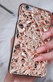 phone cover,rose gold,geometric
