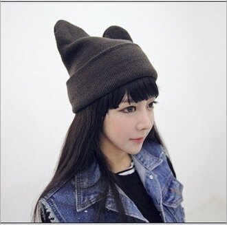 hat evil evil hat cats cat hat neko neko hat kawaii knitwear crochet crochet hat black tomboy asia asian korean fashion knitted hat knitted cat hat knitted neko hat ulzzang asian fashion