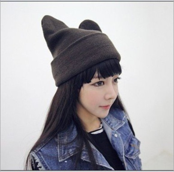 black knitted hat crochet crochet hat cat cat hat neko ulzzang tomboy kawaii neko hat knitted hat evil evil hat asia asian korean knitted cat hat knitted neko hat ulzzang fashion asian fashion