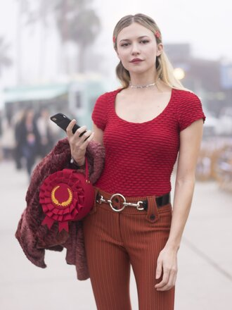 top tumblr streetstyle red top pants orange rust belt bag red bag ruffle round bag necklace jewels jewelry fashion week 2017 fashion week monochrome outfit