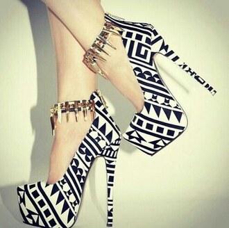 shoes black heels fashion sexy pattern art white pumps