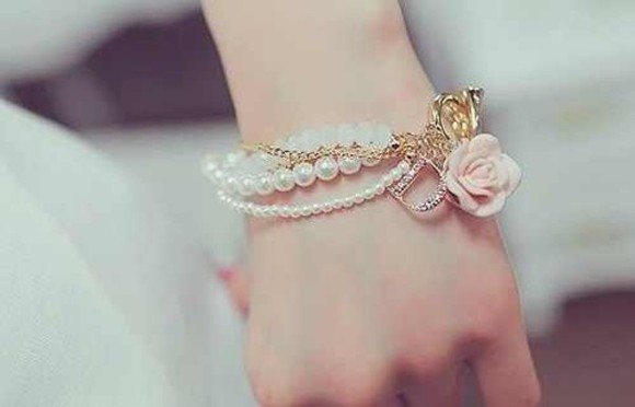pink white jewels gold pearl bracelets roses