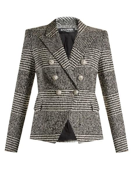 Balmain blazer check blazer white black jacket