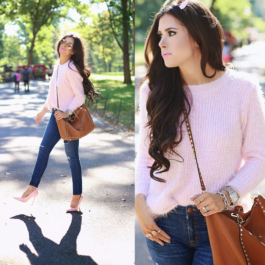 Basic Fluffy Sweater in Pink - Retro, Indie and Unique Fashion