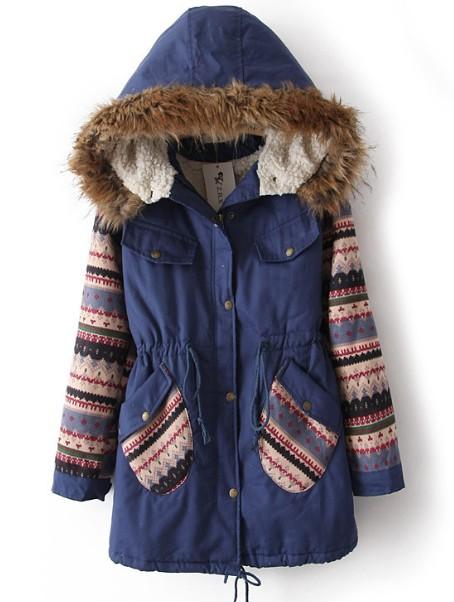 Blue fur hooded tribal print drawstring coat