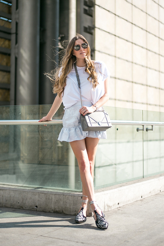 skirt tumblr mini skirt ruffle grey skirt shoes bag grey bag t-shirt white t-shirt