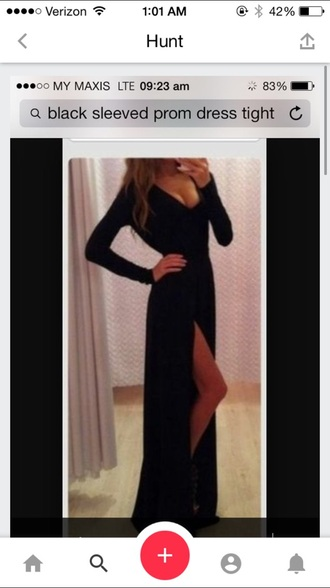 dress black high heels long sleeves slit dress