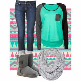 jeans blouse shoes t-shirt grey sleeves mint cloth left grey pocket scoop neck-line scarf shirt