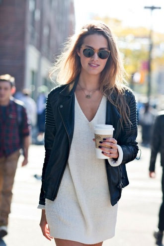 le fashion blogger jacket sunglasses leather jacket perfecto knitted sweater