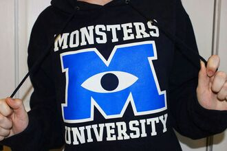 sweater movies monsters inc monsters university hoodie tumblr monster university tumblr girl tumblr clothes mu black hoodie jacket navy sweatshirt disney sweater sully mike wisoiski blue