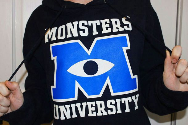 sweater movies monsters inc monsters university hoodie tumblr monster university tumblr girl tumblr clothes mu black hoodie jacket navy navy sweatshirt disney sweater sully mike wisoiski blue hoodie