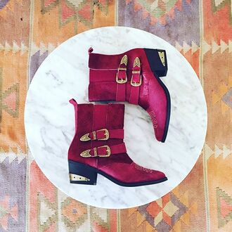shoes nightwalker pony hair bottes bottines rouge bordeau cowboy boots burgundy booties fall colors fall trend fall outfits fall shoes revolve clothing revolve revolveme cute