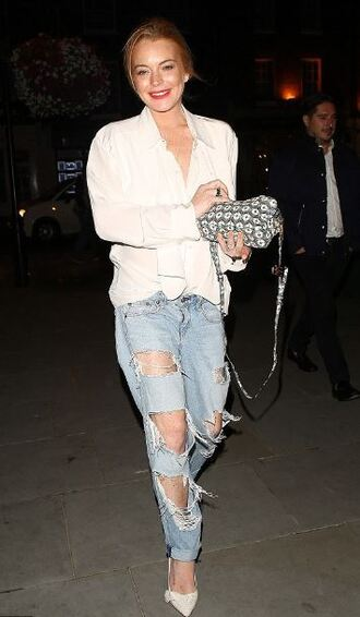 jeans ripped jeans pumps lindsay lohan shirt shoes outfit