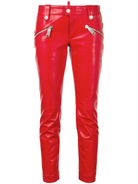 Dsquared2 women leather cotton red pants