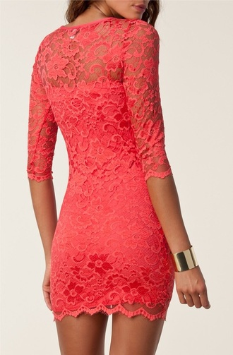 dress coral dress lace dress