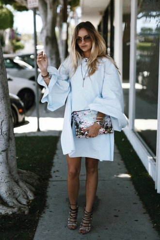 en vogue coop blogger bag shoes long sleeve dress bell sleeves round sunglasses clutch mini dress blue dress lace up