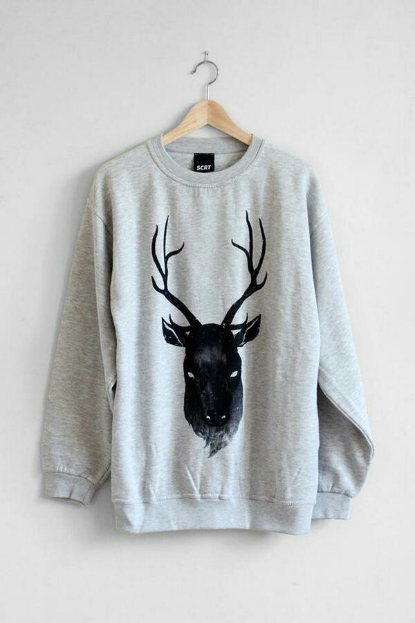 sweater sweatshirt jumpsuit jumper moose sweater grey black