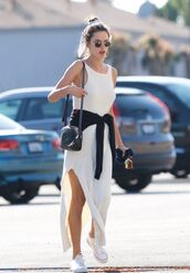 dress,alessandra ambrosio,bag,summer dress,maxi dress,white dress,summer outfits,shoes,sneakers,sunglasses