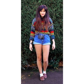 jeans vintage denim shorts sweater orange red sweater blue aztec hipster shorts hipster hipster grunge oxfords oxford shoe fall colors green cute shorts cute shoes cute sweaters cute cute outfits brown shoes brown black blue marine jacket white high waisted shorts camera