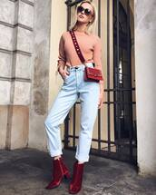 shoes,tumblr,red boots,velvet,velvet shoes,velvet boots,ankle boots,mid heel boots,denim,jeans,light blue jeans,top,pink top,ribbed top,bag,red bag,sunglasses,fall outfits