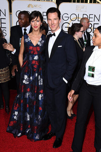 dress sophie hunter golden globes 2015 erdem red carpet dress floral dress