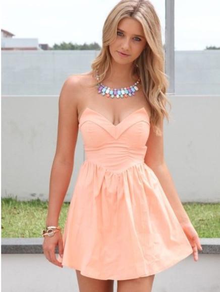 strapless peach v neck summer dress