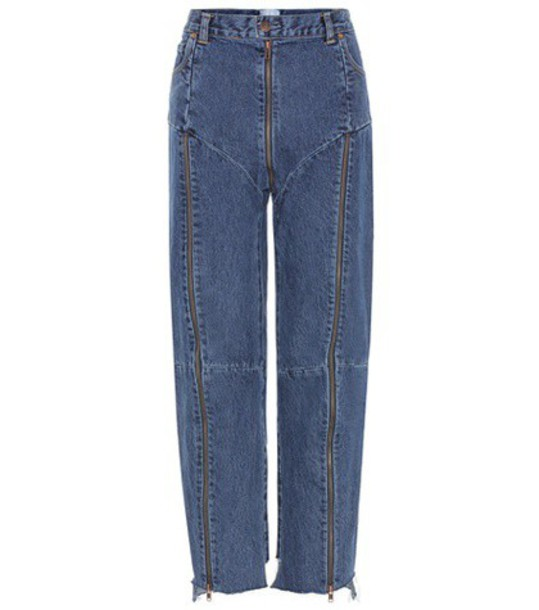Vetements High-rise distressed jeans in blue