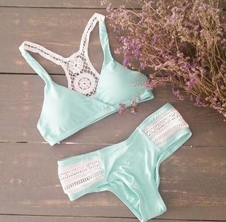 swimwear cute blue bikini white lace white swimwear blue swimwear