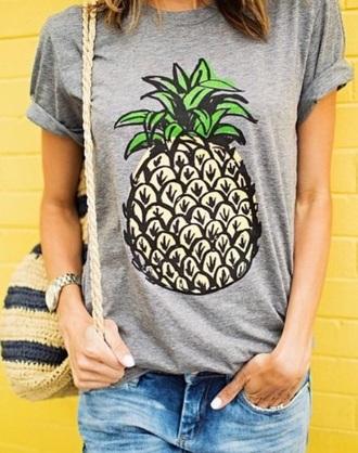 shirt gray shirt pineapple shirt short sleeve