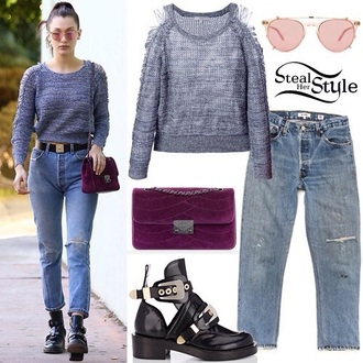sweater whole styling cutout sweater bella hadid jeans booties cut-out ankle boots