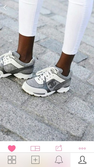 shoes chanel trainers grey