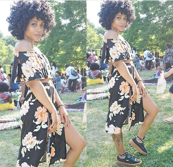 dress clothes shirt skirt two-piece off the shoulder dress floral dress