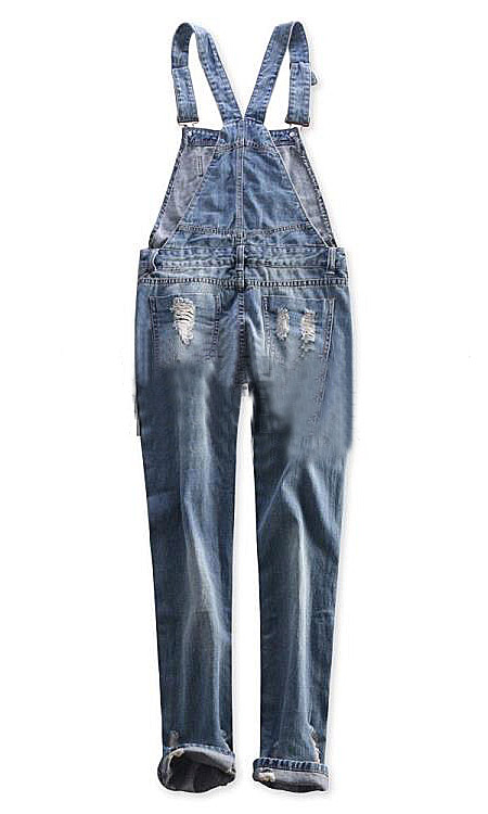 Blue boyfriend style loose ripped bleached long harem overalls with pockets