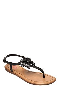 Black bow with gems sandals (wide width)
