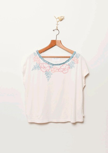 flowy top crop embroidered embroidery neckline summery element blouse