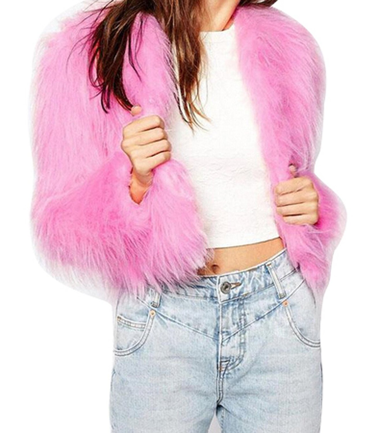 Mk imitation fox fur long sleeve short luxury coat pink at amazon women's coats shop