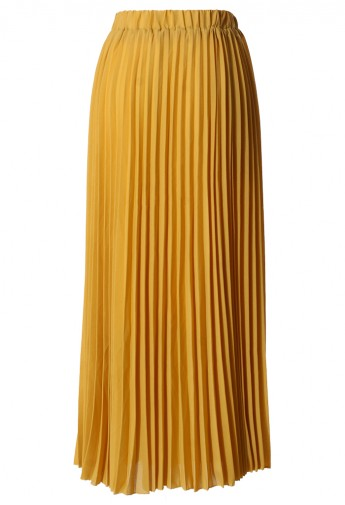 Chiffon Mustard Pleated Maxi Skirt Retro Indie And