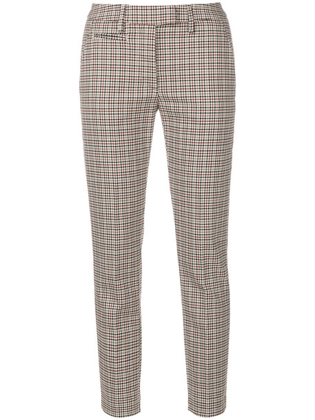 cropped women spandex cotton wool brown pants