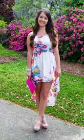dress,spring,bright,white,floral,high,low,lo,hi,nude,heels,strappy,hot,pink,snake skin,clutch,bag