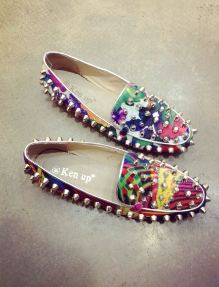 shoes spiked shoes colorful colors flats cute